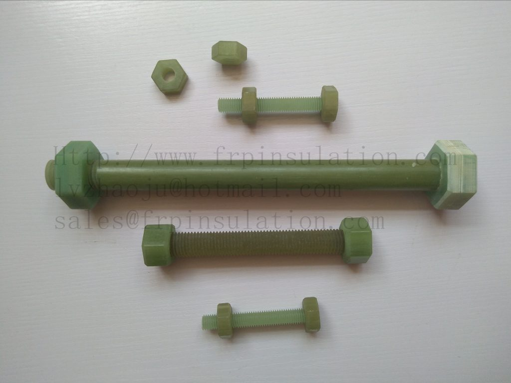 High tensile epoxy resin composite fiberglass / FRP hex nuts